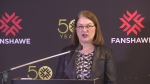 Federal Health Minister Jane Philpot makes an announcement at Fanshawe College on Monday, March 27, 2017.