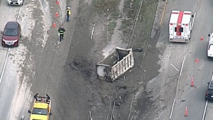 The crash occurred shortly before 2 p.m. Monday, on a stretch south of Ladner Trunk Road.