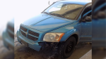 The suspect vehicle in a series of shootings spanning hundreds of kilometres is described as a blue, four-door 2009 Dodge Caliber with Ontario licence plate CAVM918. (Handout)