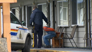 RCMP arrested one of two suspects in an apparent drug-related shooting in Courtenay at a hotel on Cliffe Avenue Monday, March 27, 2017.