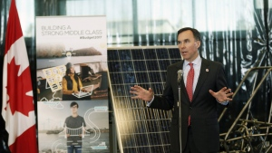 Minister of Finance Bill Morneau answers questions at a news conference after touring the Southern Alberta Institute of Technology in Calgary, Alta., Monday, March 27, 2017. THE CANADIAN PRESS/Todd Korol