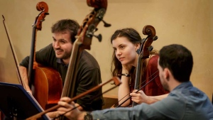 Members of the European Union Baroque Orchestra rehearse at The National Centre for Early Music inside a converted medieval church, in York, England, in this photo dated Saturday March 18, 2017. (AP Photo/Tim Ireland)