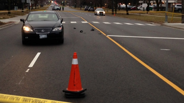 Police say a woman in her 60s suffered life-threatening injuries after she was struck by a vehicle in Scarborough this morning (Cam Woolley/ CP24)