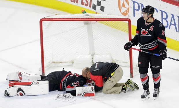 Carolina Goalie Lack Out Of Hospital After Suffering Neck Injury
