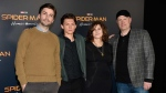 Jon Watts, from left, director of 'Spider-Man: Homecoming,' poses with, cast member Tom Holland and producers Amy Pascal and Kevin Feige during a photo call backstage at the Sony Pictures Entertainment presentation at CinemaCon 2017 at Caesars Palace on Monday, March 27, 2017, in Las Vegas. (Photo by Chris Pizzello/Invision/AP)