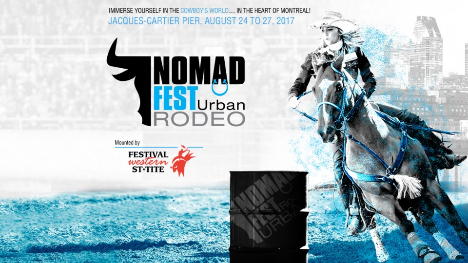 A promotional poster for Nomad Fest's urban rodeo.