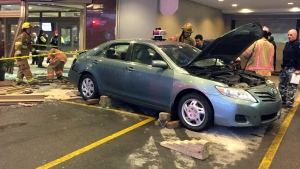 A taxi drove into the lobby of the Delta hotel on President Kennedy Ave. in Montreal on March 28, 2017 (CTV Montreal/JL Boulch)