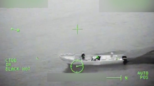 A suspected drug smuggling vessel is seen in the Eastern Pacific Ocean March 11, 2017. (Source: U.S. Coast Guard video)