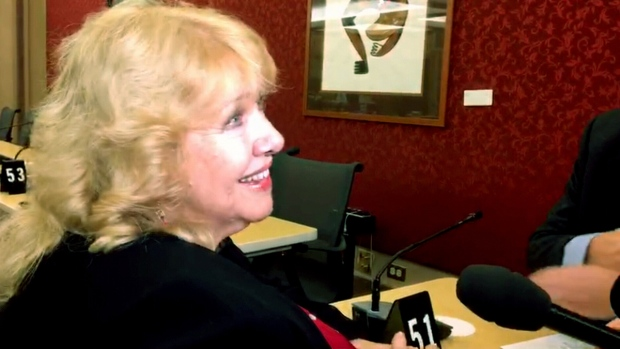 Sen. Lynn Beyak speaks to reporters before a Senate committee hearing in Ottawa, on March 28, 2017. (CTV News)