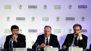 European Club Association Chairman Karl-Heinz Rummenigge, center, speaks as Andrea Agnelli president of the Italian soccer club Juventus, left, and ECA General Secretary Michel Centenaro listen to him during a news conference in Athens, Tuesday, March 28, 2017. (Thanassis Stavrakis / AP)