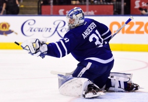 In this March 20, 2017 file photo, Toronto Maple Leafs goalie Frederik Andersen (31) makes a save against the Boston Bruins during third period NHL action in Toronto. (Frank Gunn / THE CANADIAN PRESS)