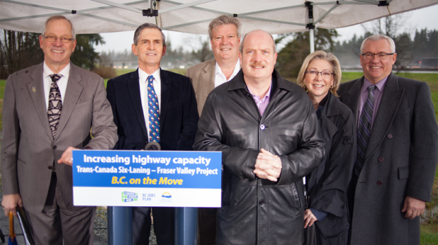 An eight-kilometre stretch of the Trans-Canada Highway in Langley is being widened to improve safety and reduce gridlock. March 28, 2017. (Handout)