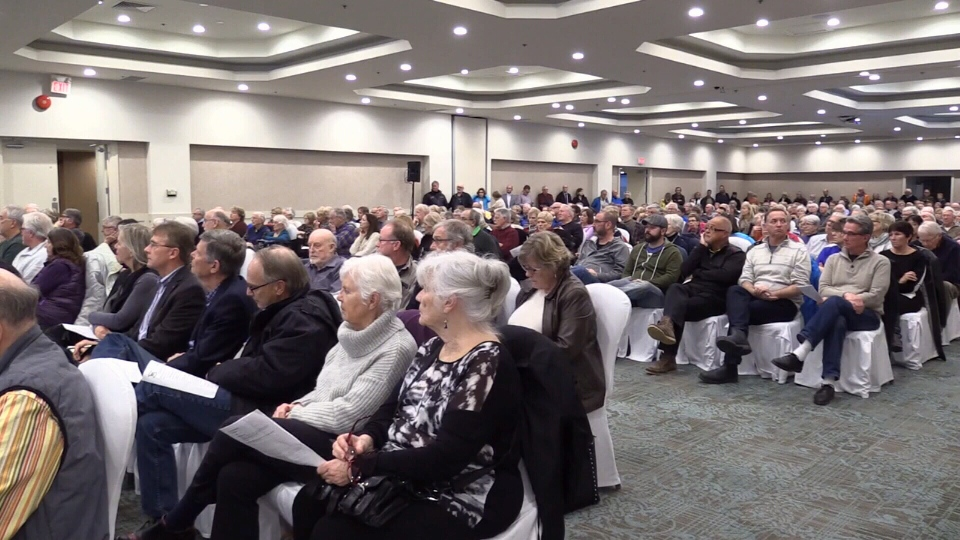 More than 300 people turned out to the Georgian Bay Hotel Collingwood council meeting on March 27,2017 (CTV Barrie).