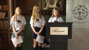 Glenlyon Norfolk School students teamed up with Humane Society International/Canada for a press conference to highlight the urgent need to protect B.C. wildlife. Mar. 28, 2017 (CTV Vancouver Island)