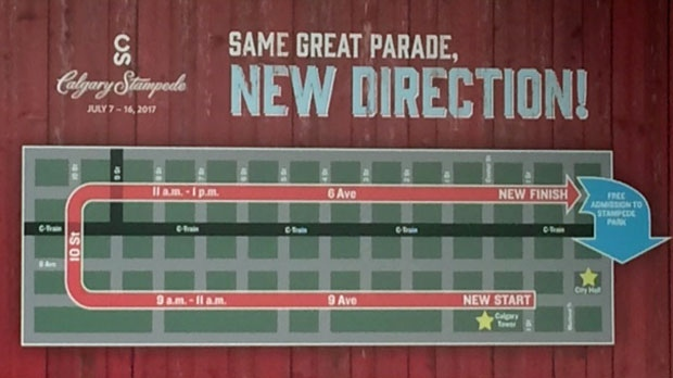 New Calgary Stampede Parade route (supplied)