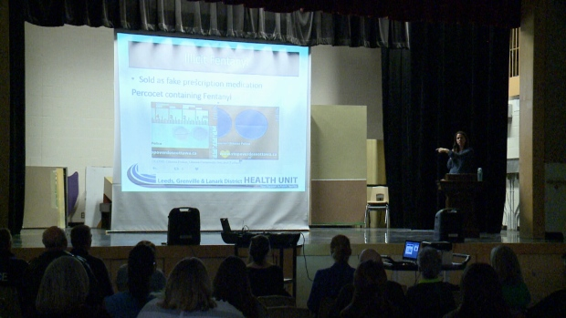 A public meeting about fentanyl and other opioids held at the Smiths Falls District Collegiate in Smiths Falls, ON, March 28, 2017