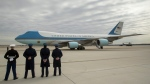 Air Force One, with U.S. President Donald Trump aboard, at Andrews Air Force Base in Md., on Feb. 17, 2017. (Andrew Harnik / AP)