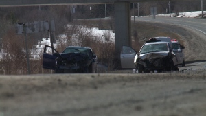 The scene of a two-car collision on the Airport Parkway between Walkley and Brookfield roads on Wednesday, Mar. 29, 2017. (Zane Burtnyk/CTV Ottawa)