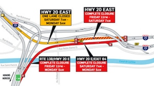 Multiple lanes on Highway 20 are being closed from March 31 until April 3, 2017