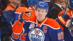 Edmonton Oilers' Connor McDavid (97) celebrates a goal during first period NHL action against the Los Angeles Kings, in Edmonton, Alta., on Tuesday, March 28, 2017. THE CANADIAN PRESS/Jason Franson
