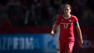 Canada's Christine Sinclair looks on during first half of the FIFA Women's World Cup round of 16 soccer action in Vancouver in a June 21, 2015, file photo. (Darryl Dyck / The Canadian Press)