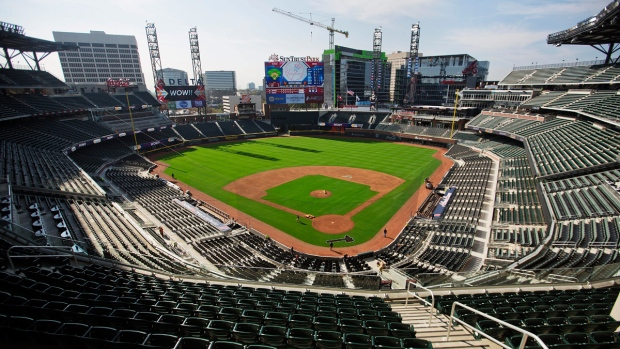 A view from the press box of SunTrust Park
