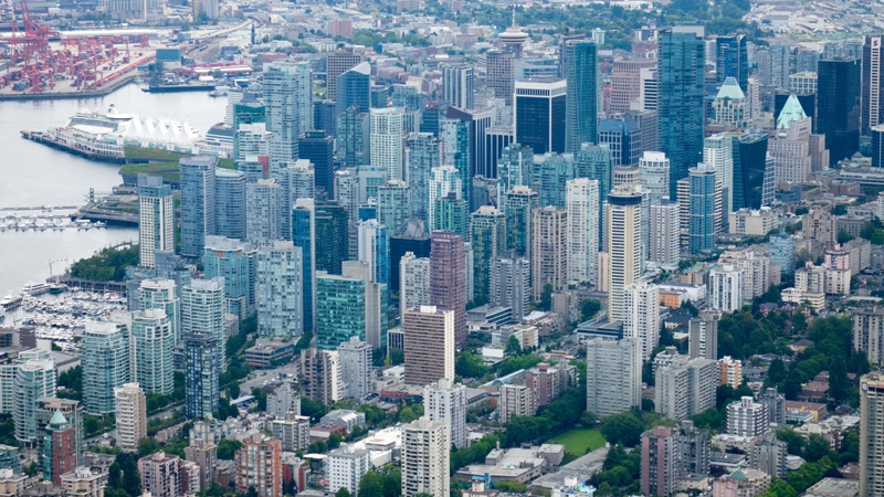 The downtown core of Vancouver is seen in a 2016 photo taken in CTV's Chopper 9 by Pete Cline.