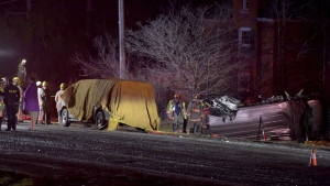 Crews respond to a serious collision on Highway 6 between 4th and 5th Line in Caledonia Wednesday March 29, 2017. (Andrew Collins /CTV News Toronto)