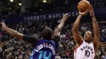 Toronto Raptors guard DeMar DeRozan makes a shot as Charlotte Hornets forward Michael Kidd-Gilchrist attempts to defend during first half NBA basketball action, in Toronto on Wednesday, March 29, 2017. (Frank Gunn / THE CANADIAN PRESS)