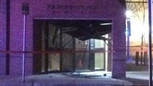 Damage to the entrance of Kilborn Place, at the intersection of Third Avenue South and 19th Street East in Saskatoon, is seen here after an explosion. Police suspect an improvised explosive device was detonated. (Matt Young/CTV Saskatoon)