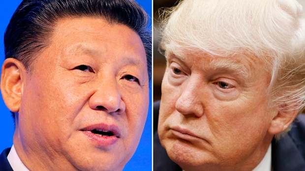 Chinese President Xi Jinping, left, on Jan. 17, 2017, in Davos, Switzerland, and U.S. President Donald Trump on March 28, 2017, in Washington. (AP)