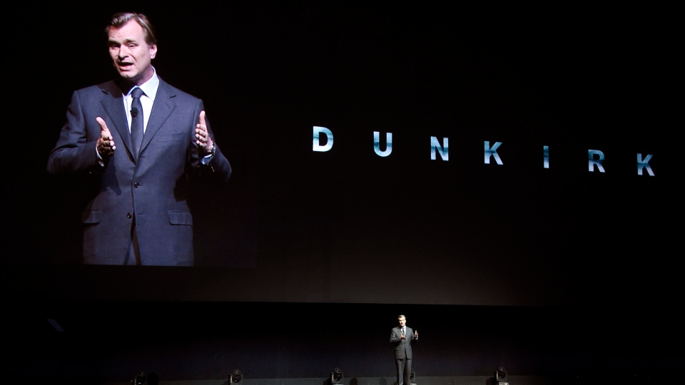 Christopher Nolan, director of the upcoming film 'Dunkirk,' discusses the film onstage during the Warner Bros. Pictures presentation at CinemaCon 2017 at Caesars Palace in Las Vegas on Wednesday, March 29, 2017. (Chris Pizzello / Invision)