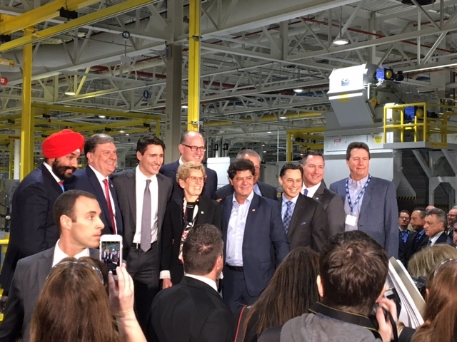 Prime Minister Justin Trudeau and Premier Kathleen Wynne announced a combined $200 million for Essex Engine Plant in Windsor, Ont., on Thursday, March 30, 2017. (CTV Windsor)