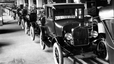 1926 Model T cars rolling off the assembly line