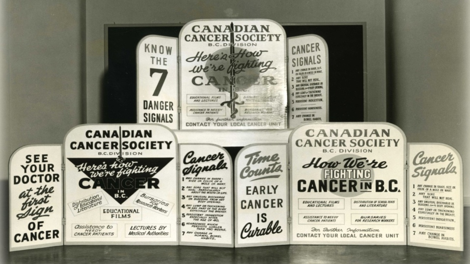 A historical Canadian Cancer Society picture from British Columbia detailing the signs of cancer. (Canadian Cancer Society)