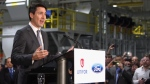 Prime Minister Justin Trudeau speaks at the Ford Essex Engine Plant in Windsor, Ont. on Thursday, March 30, 2017. (THE CANADIAN PRESS/Dave Chidley)