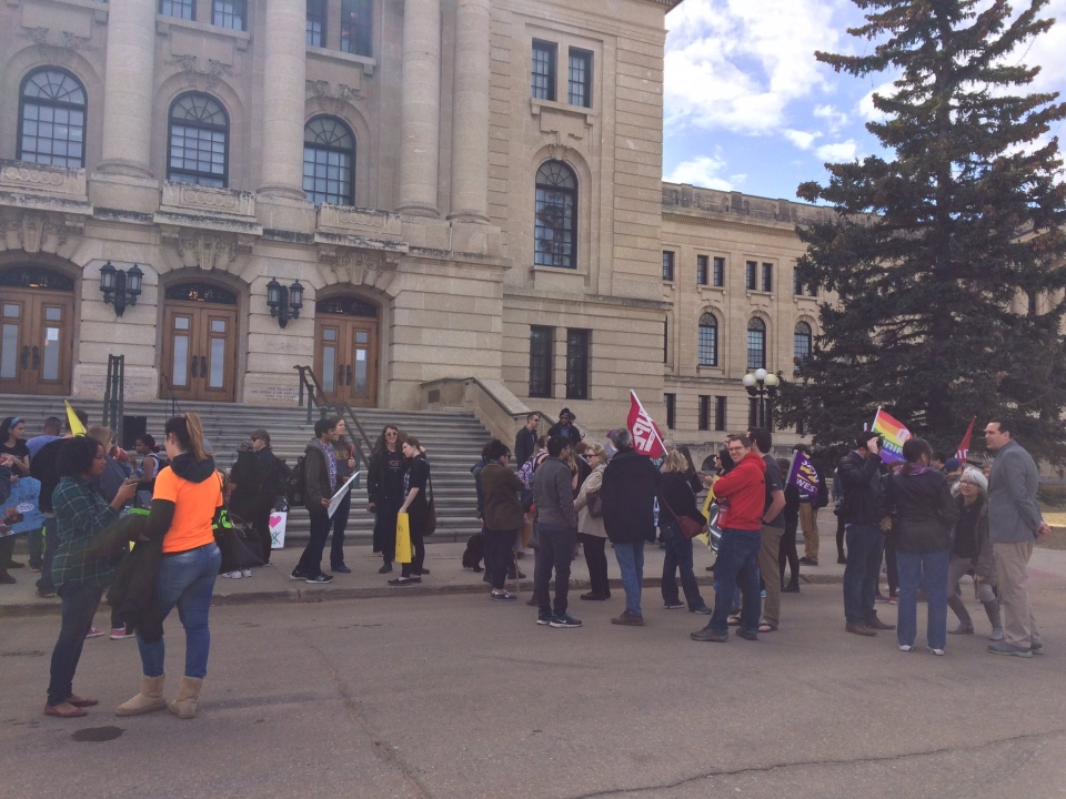 Dozens of people marched in protest of funding cuts in last week's provincial budget during a demonstration in Regina on Thursday, March 30, 2017.