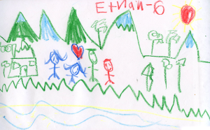 Weather art by Ethan, age 5, from St Jude's Catholic School.