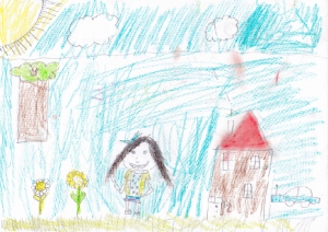 Weather art by Meera Bains, age 7, from James Thompson Elementary.