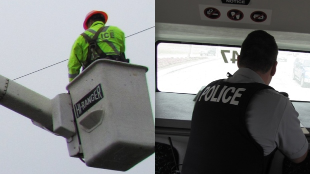 Officers watched traffic from bucket trucks and buses during a month-long crackdown.