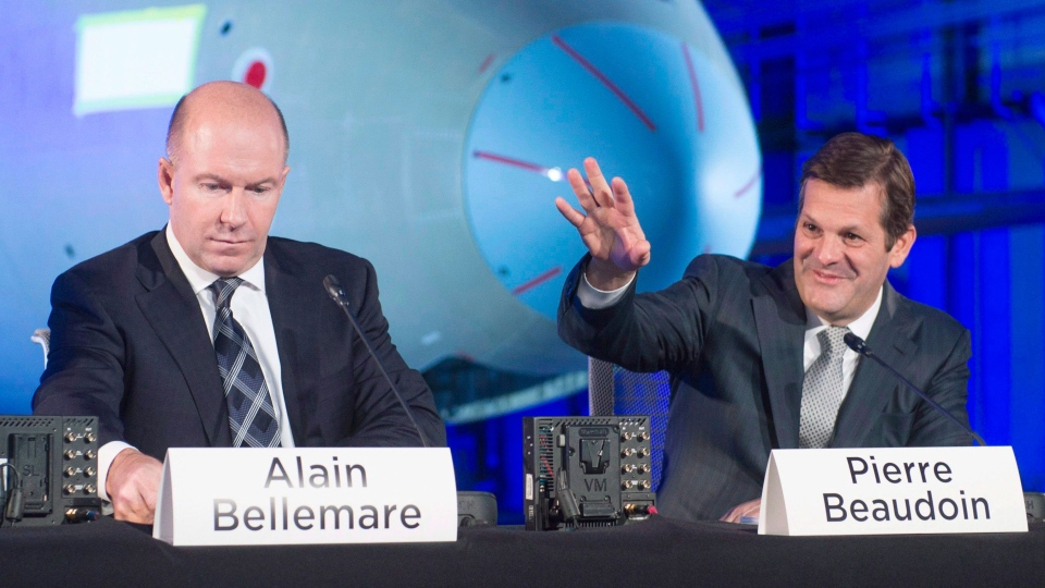 Bombardier's chief executive Alain Bellemare, left, and Executive Chairman Pierre Beaudoin get set to start the company's annual meeting in Mirabel, Que. on Friday, April 29, 2016. (Ryan Remiorz / THE CANADIAN PRESS)