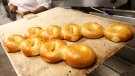 Bagels fresh from the oven at Kossar's Bagels and Bialys in New York on May 26, 2016. (AP / Kathy Willens)