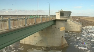 The Red River Floodway gates are lifted in a file photo (CTV Winnipeg file photo)