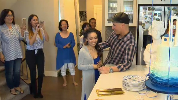 Friends and family surround Micah Repato as the 25-year-old's wish to celebrate with loved ones was granted.