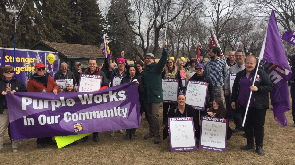 SEIU West members march against cuts in last week's provincial budget in Saskatoon on Friday, March 31, 2017. (MARK VILLANI/CTV SASKATOON)