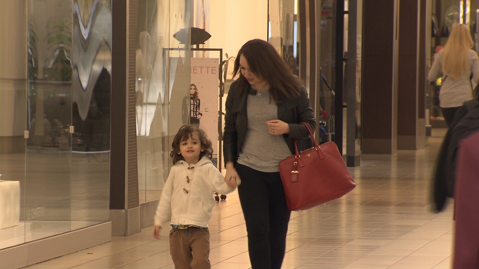 Sara Elynuik's three-year-old son Arya, who has autism, was stuck inside a Metrotown elevator. (CTV)