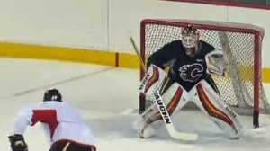 Calgary Flames goaltender - Mar 31, 2017 practice