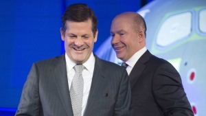 Bombardier's chief executive Alain Bellemare, right,, and Executive Chairman Pierre Beaudoin arrive for the start of the company's annual meeting Friday, April 29, 2016 in Mirabel, Que. THE CANADIAN PRESS/Ryan Remiorz