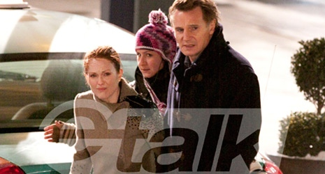 Liam Neeson and Julianne Moore on the set of 'Chloe' in Toronto.