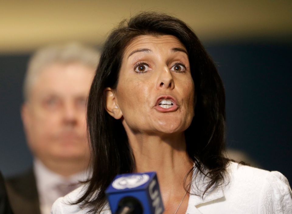 In this Monday, March 27, 2017 file photo, United States Ambassador to the United Nations Nikki Haley speaks to reporters outside the General Assembly at U.N. headquarters. (AP / Seth Wenig)